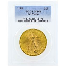 1908 No Motto $20 St. Gaudens Double Eagle Gold Coin PCGS MS66