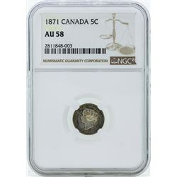 1871 Canada 5 Cent Coin NGC AU58