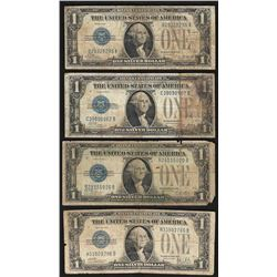 Lot of (4) 1928 Funnyback $1 Silver Certificate Notes