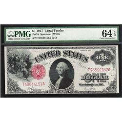 1917 $1 Legal Tender Note Fr.39 PMG Gem Uncirculated 64EPQ