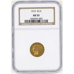 1912 $2 1/2 Indian Head Quarter Eagle Gold Coin NGC AU53