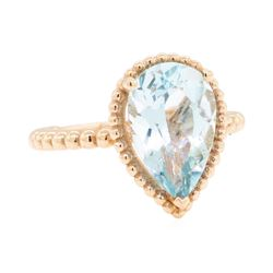 14KT Rose Gold 3.12ct Aquamarine Solitaire Ring