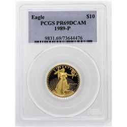 1989-P $10 American Gold Eagle Proof Coin PCGS PR69DCAM