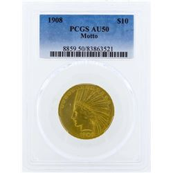 1908 Motto $10 Indian Head Eagle Gold Coin PCGS AU50