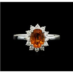 14KT White Gold 1.60ct Mandarin Spessartite and Diamond Ring