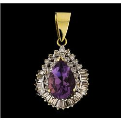 14KT Two Tone Gold 6.90ct Amethyst Pendant