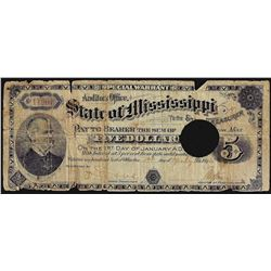 1894 State of Mississippi 5 Dollar Special Warrant Note