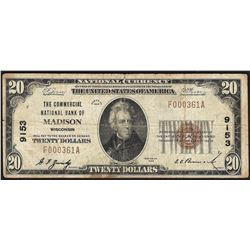1929 $20 Madison Wisconsin National Currency Note CH# 9153