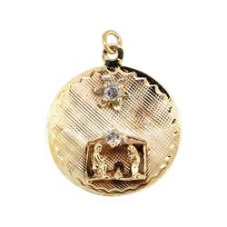 14KT Yellow Gold 0.10ctw Diamond Nativity Pendant