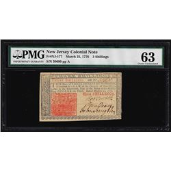 March 25, 1776 New Jersey 3 Shillings Colonial Note PMG Choice Uncirculated 63