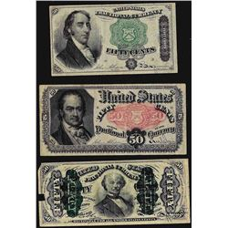Lot of (3) Fifty Cent Fractional Currency Notes