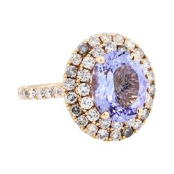 14KT Rose Gold 3.79ct Tanzanite and Diamond Ring