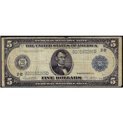 1914 $5 Federal Reserve Bank Note New York