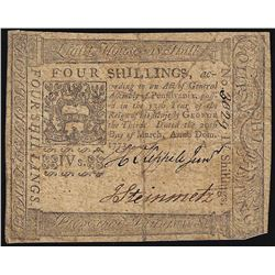 March 20,1773 Pennsylvania 4 Shillings Colonial Currency Note