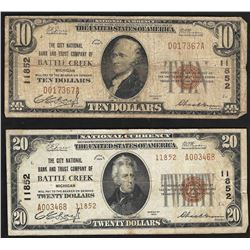 Set of 1929 $10 & $20 Battle Creek Michigan National Currency Notes CH# 11852