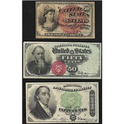 Set of March 3, 1863 10/50/50 Cent 4th Issue Fractional Notes