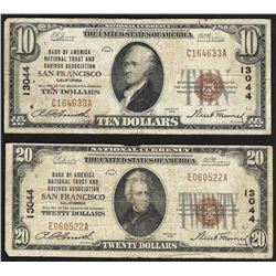 Set of 1929 $10 & $20 San Francisco CA National Currency Notes CH# 13044