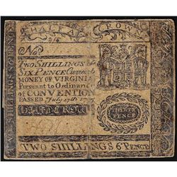 July 17th, 1775 Virginia Two Shillings 6 Pence Colonial Currency Note
