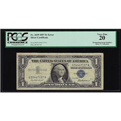 1957 $1 Silver Certificate Note Mismatch Serial Number ERROR PCGS Very Fine 20