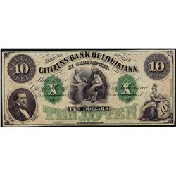 1800's $10 Citizens Bank of Louisiana Obsolete Bank Note