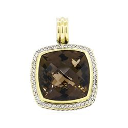 David Yurman Sterling Silver and 18KT Yellow Gold 25.00ct Smoky Quartz and Diamo
