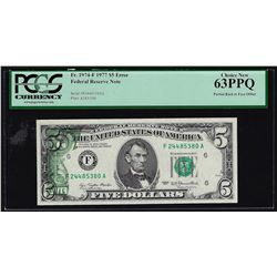 1977 $5 Federal Reserve Note Offset ERROR PCGS Choice New 63PPQ