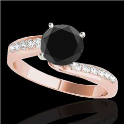1.40 CTW Certified VS Black Diamond Bypass Solitaire Ring 10K Rose Gold - REF-54Y2X - 35076