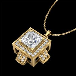 1.46 CTW Princess VS/SI Diamond Micro Pave Necklace 18K Yellow Gold - REF-418A2V - 37195