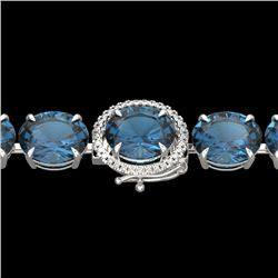 79 CTW London Blue Topaz & Micro VS/SI Diamond Halo Bracelet 14K White Gold - REF-272X2R - 22266