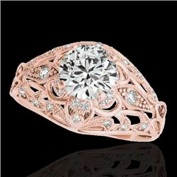1.36 CTW H-SI/I Certified Diamond Solitaire Antique Ring 10K Rose Gold - REF-172X7R - 34712