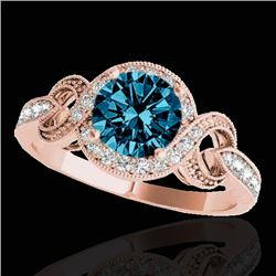 1.33 CTW SI Certified Fancy Blue Diamond Solitaire Halo Ring 10K Rose Gold - REF-159W6H - 33811