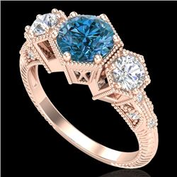 1.66 CTW Intense Blue Diamond Solitaire Art Deco 3 Stone Ring 18K Rose Gold - REF-254A5V - 38056