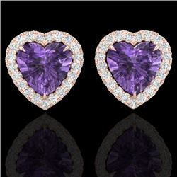 2 CTW Amethyst & Micro Pave VS/SI Diamond Earrings Heart Halo 14K Rose Gold - REF-42H7M - 21198