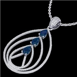 2 CTW Sapphire & Micro Pave VS/SI Diamond Designer Necklace 18K White Gold - REF-133K3W - 22471