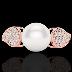 0.27 CTW Micro Pave VS/SI Diamond Certified & Pearl Designer Ring 14K Rose Gold - REF-39H3M - 22644