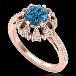 1.65 CTW Fancy Intense Blue Diamond Engagement Art Deco Ring 18K Rose Gold - REF-230R9K - 37727
