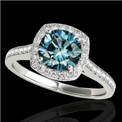 1.40 CTW SI Certified Fancy Blue Diamond Solitaire Halo Ring 10K White Gold - REF-200H2M - 34189