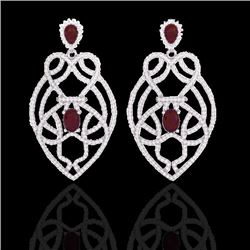7 CTW Ruby & Micro VS/SI Diamond Heart Earrings Designer Solitaire 14K White Gold - REF-381F8N - 211