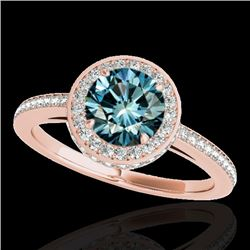 1.55 CTW SI Certified Fancy Blue Diamond Solitaire Halo Ring 10K Rose Gold - REF-180V2Y - 34280