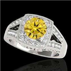 1.65 CTW Certified SI/I Fancy Intense Yellow Diamond Solitaire Halo Ring 10K White Gold - REF-289Y3X