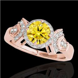 1.56 CTW Certified SI/I Fancy Intense Yellow Diamond Solitaire Halo Ring 10K Rose Gold - REF-209N3A