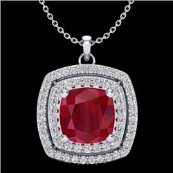 2.52 CTW Ruby & Micro Pave VS/SI Diamond Certified Halo Necklace 18K White Gold - REF-76R4K - 20461