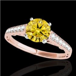 1.35 CTW Certified SI/I Fancy Intense Yellow Diamond Solitaire Ring 10K Rose Gold - REF-156X4R - 349