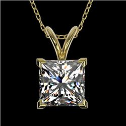 1.25 CTW Certified VS/SI Quality Princess Diamond Necklace 10K Yellow Gold - REF-423A3V - 33216