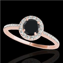 1.20 CTW Certified VS Black Diamond Solitaire Halo Ring 10K Rose Gold - REF-48N9A - 33503