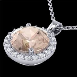1.50 CTW Morganite & Halo VS/SI Diamond Micro Necklace Solitaire 18K White Gold - REF-58R5K - 21566