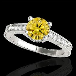 1.20 CTW Certified SI Intense Yellow Diamond Solitaire Antique Ring 10K White Gold - REF-149F3N - 34