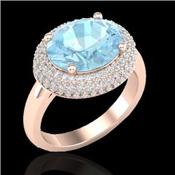 4 CTW Aquamarine & Micro Pave VS/SI Diamond Certified Ring 14K Rose Gold - REF-116F5N - 20904
