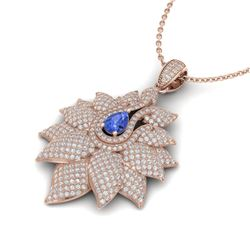3 CTW Tanzanite & Micro Pave VS/SI Diamond Designer Necklace 18K White Gold - REF-257W3H - 22573