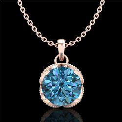 1.13 CTW Fancy Intense Blue Diamond Solitaire Art Deco Necklace 18K Rose Gold - REF-123A6V - 37426